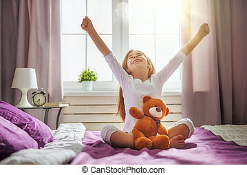 sleep., cima, esteiras, criança