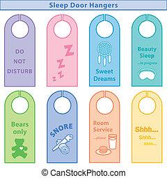 Sleep Door Hangers, Pastels - Door hangers for sleepy time,...