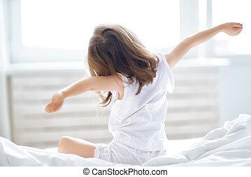 sleep., gyermek, feláll, ébredés