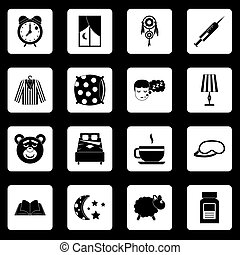 Sleep icons set squares vector
