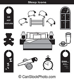Sleep Icons: Teddy bear, bed, pillow, milk, cookies, alarm, clock, sleep mask, counting sheep, starry night, door hangers, dream catcher, zzz, shh, window, moon, stars.