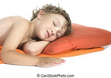 sleep little boy on white background