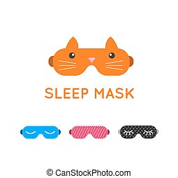 Sleep mask set. Night sleeping mask vector icon. Sleep mask for travel. Relax sleep mask. Mask for sleeping without stress.