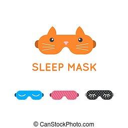 Sleep mask set. Night sleeping mask vector icon. Sleep mask for travel. Relax sleep mask. Mask for sleeping without stress.
