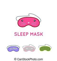Sleep mask vector set. Night sleeping mask vector icon. Sleep mask for travel. Relax sleep mask. Mask for sleeping without stress.