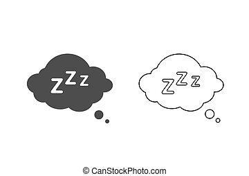 Sleep Rest line icon set in flat style. Sleep symbol for your web site design, logo, app, UI Vector illustration