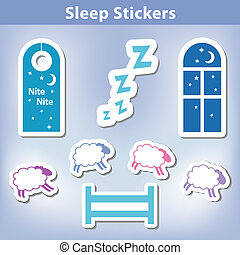 Sleep Stickers: count sheep jumping a fence, starry night, ...