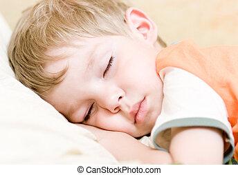 Sleep - Little kid sleep on white bed.