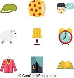 Sleep symbols icon set, flat style