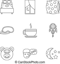 Sleep symbols icon set, outline style