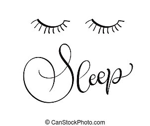 sleep text on white background. Calligraphy lettering Vector illustration EPS10