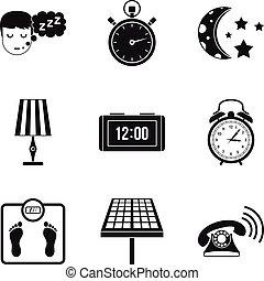 Sleep time icon set, simple style - Sleep time icon set....