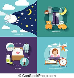 Sleep time icons flat set with good night bed colourful...