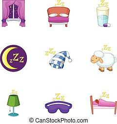 Sleep time icons set, cartoon style - car icons set. Cartoon...