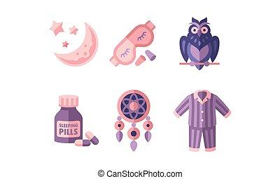 Sleep time, objects for sleep, moon and stars, mask, owl, botlle of pills, dreamcatcher, pajamas, good night flat vector Illustration