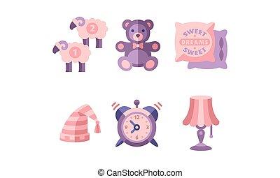 Sleep time, objects for sleep, sheep, teddy bear, pillows, nightcap, alarm clock, lamp, good night flat vector Illustration