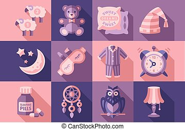 Sleep time set, objects for sleep, good night vector Illustrations in flat style