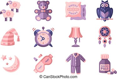 Sleep time set, objects for sleep, good night vector Illustrations in flat style on a white background