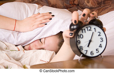 Sleep, wake up with alarm clock, get up is being frustrated.