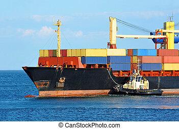 sleepboot, helpen, container, vrachtschip