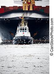 sleepboot, het trekken, vrachtschip