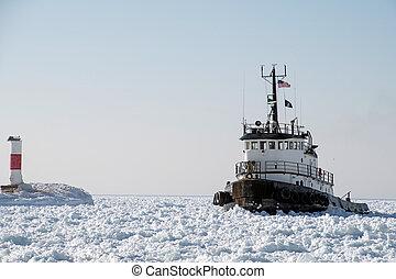 sleepboot, michigan, meer, ijs