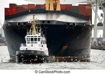 sleepboot, slepen, vrachtschip, in, haven