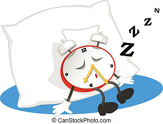 Sleeping alarm clock - Cartoon alarm clock sleeping on a...