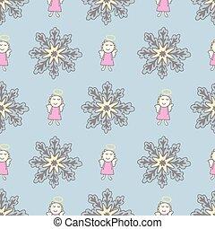 Sleeping angel and fluffy snowflake