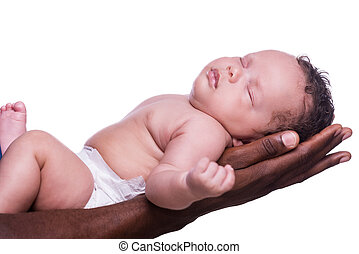 Sleeping angel. Side view of black hands holding cute little baby against white background