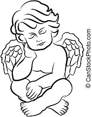 sleeping angel - silhouettes of little angel - symbol of...
