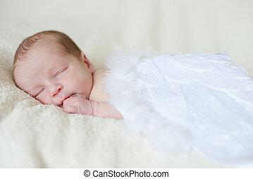 sleeping angelic newborn