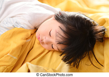 Sleeping Asian child.