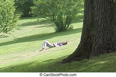 sleeping at the park