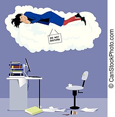 Sleeping at work - Woman sleeping on a cloud with do not...