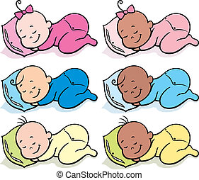 Collection of 6 sleeping babies over white background. No transparency and gradients used.