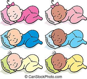 Sleeping Babies - Collection of 6 sleeping babies over white...