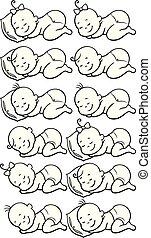 Sleeping Babies Line Art