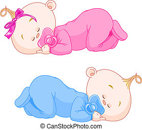 Sleeping Babies - Two charming little twins sleep in pajamas...