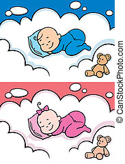 Cartoon baby sleeping on cloud. The illustration is in 2 versions for baby boy and baby girl. You can extend the color of the sky, or the white color of the cloud to make place for your text.