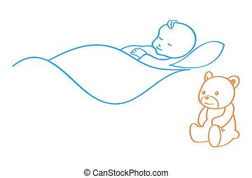 Sleeping baby - Sleeping cute baby with guard Teddy bear
