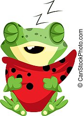 Sleeping baby frog hugging the pillow, illustration, vector on white background.