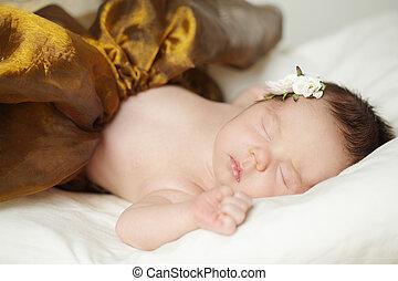 Sleeping baby girl, newborn