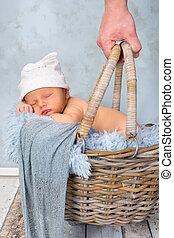 Sleeping baby in basket