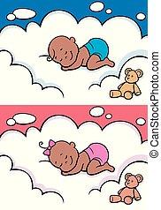 Sleeping Baby in Diaper Black