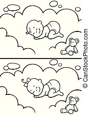 Sleeping Baby in Diapers Line Art