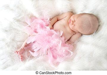Sleeping Baby - New born baby sleeping on a soft fur ...
