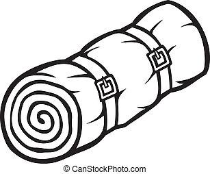 sleeping bag (bed roll, camping sleeping bag, rolled sleeping bag)