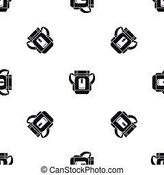 Sleeping bag pattern seamless black