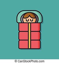 sleeping bag vector icon